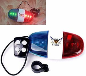 Police bicycle lights with electric horn bell