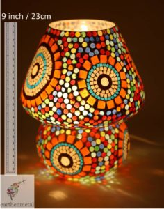 Earthen Metal's Dome Shaped Glass Table Lamp