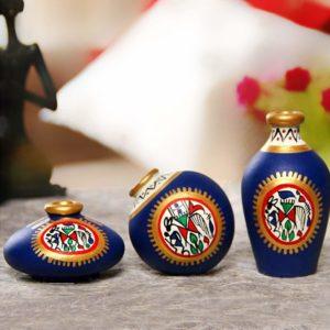 ExclusiveLane's Terracotta Miniature Small Pots (Blue, Set of 3)