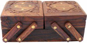 ITOS365 Jewellery Box Wooden Flip Flap Flower Design