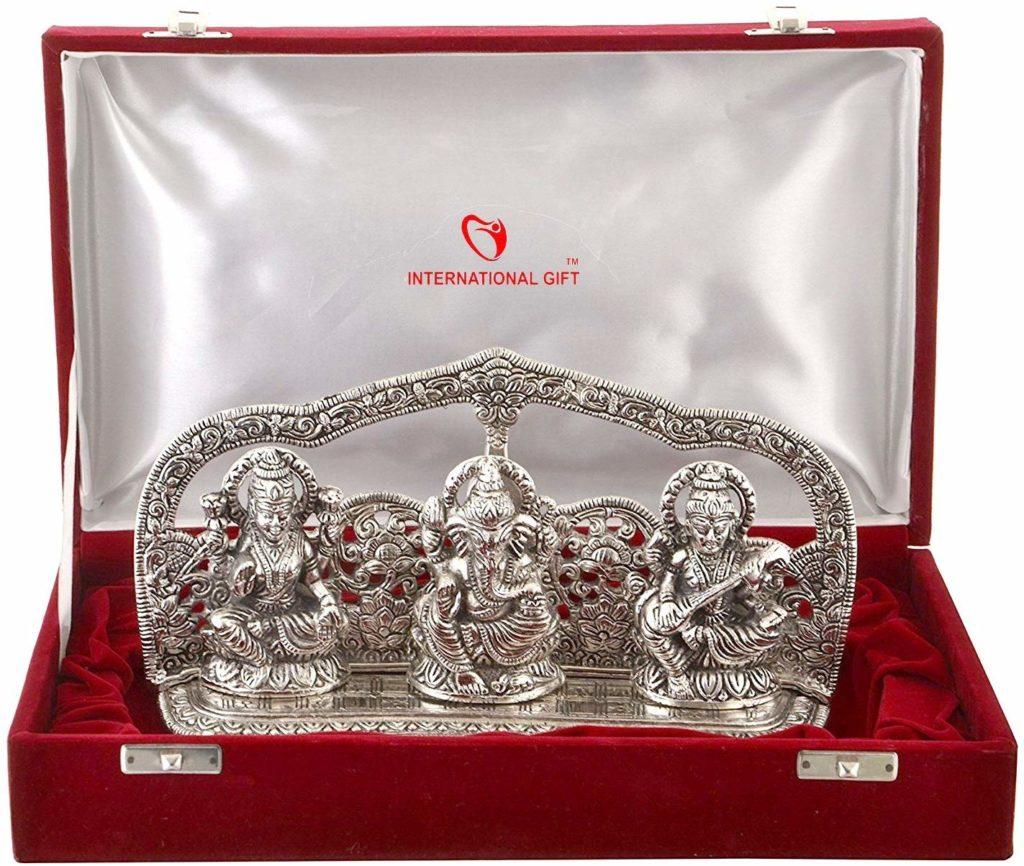 International-Gifts-Silver-Plated-Laxmi-Ganesh-Idol