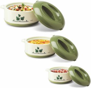 Milton's Orchid 3 Piece Junior Insulated Casserole Set, Green