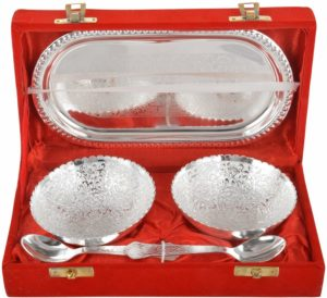 Rajasthan Emporium and Handicrafts German Silver Bowl, Spoon and Tray Set