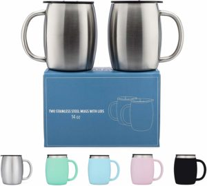 Stainless Steel Coffee Mugs with Lids