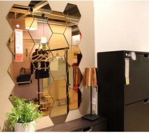 Wall1ders' Atulya Arts 3D Acrylic Mirror Hexagon Shape Wall Stickers