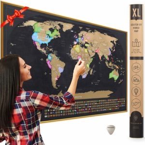 XL Scratch Off Map of The World with Flags