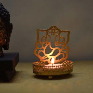 eCraftIndia's Shadow Ganesh Ji Metal Tea Light Holder