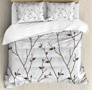 Ambesonne Leaf Duvet Cover Set