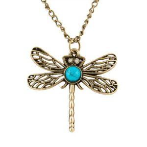 Colorful Enamel Dragonfly Pendant Necklace