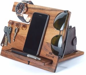 Walnut wood Wallet Stand Watch Organizer - Wooden Christmas gift ideas
